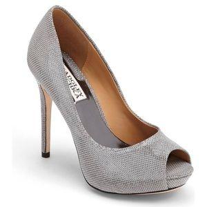 Badgley Mischka Drama Silver Pump Heels